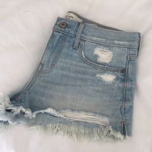 Abercrombie & Fitch cut off jean shorts.